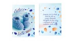 Biglietto Felice Battesimo Bimbo Bambino maschio - con piedini