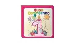 Biglietto d'auguri 1° Compleanno bimba Musicale e Luminoso - SONORO per bambina