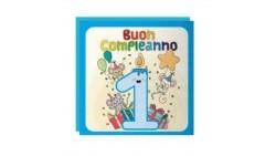 Biglietto d'auguri 1° Compleanno bimbo Musicale e Luminoso - SONORO per bambino
