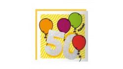 Biglietto auguri Compleanno 50 ANNI - Musicale SONORO e Luminoso - APRI e SOFFIA