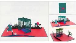 Biglietto augurale ORIGAMO Calcio Rosso Nero - compleanno generico - POP UP - realizzato a mano