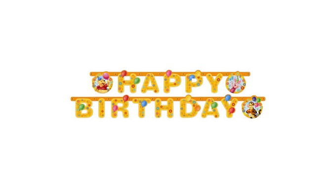 FESTONE in carta - WINNIE THE POOH HAPPY BIRTHDAY - banner STRISCIONE Compleanno