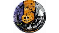 10 piatti in carta HAPPY HALLOWEEN 23cm - con Zucca, Fantasma