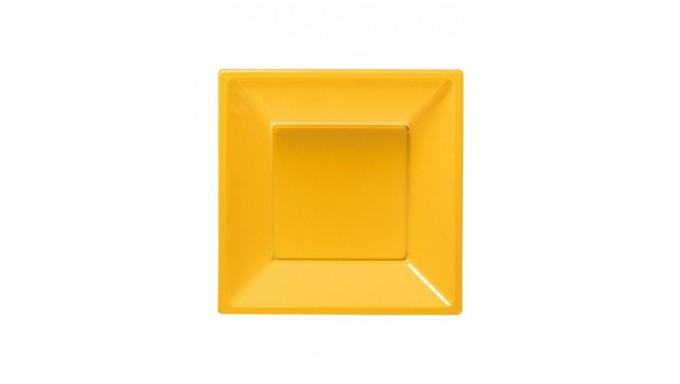 8 Piatti fondi GIALLO in plastica riutilizzabile - patto fondo quadrato 18x18cm