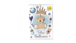 Biglietto Felice Battesimo Bimbo Bambino CELESTE con ciondolo Orsetto  in legno