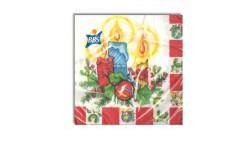 20 Tovaglioli Natalizi in carta Candele di Natale Capodanno - 33x33cm