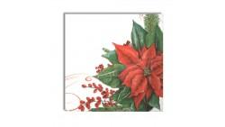 20 Tovaglioli Natalizi in carta Fiore rosso Stelle di Natale Capodanno - 33x33cm