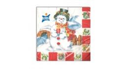 20 Tovaglioli Natalizi in carta PUPAZZO di Neve di Natale Capodanno - 33x33cm