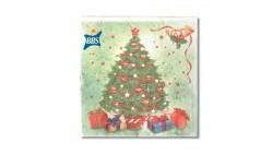20 Tovaglioli Natalizi in carta Verde con Albero di Natale Capodanno - 33x33cm
