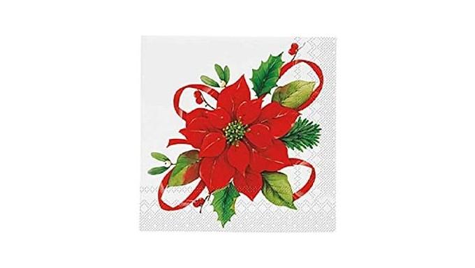 20 TOVAGLIOLI in carta Bianchi con stella di natale Rossa - tavola natalizia