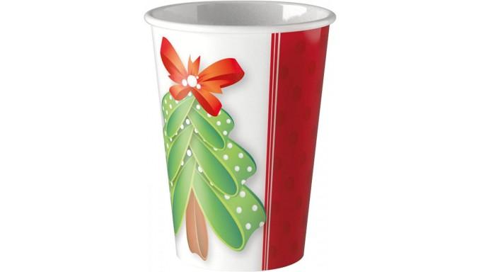 8 BICCHIERI in carta Rossi e Bianco con Albero di Natale - addobbo tavola natalizio