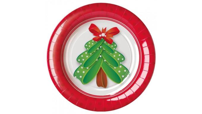 8 PIATTI Ø18cm in carta Bianchi e Rossi con Albero di Natale tavola natalizia