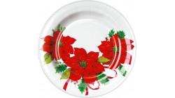 8 PIATTI Ø18cm in carta Bianco con stella di natale Rossa tavola natalizia