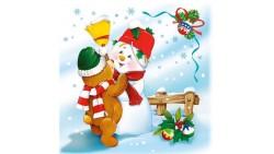 20 Tovaglioli Natalizi in carta PUPAZZO di Neve e Orsetto di Natale Capodanno