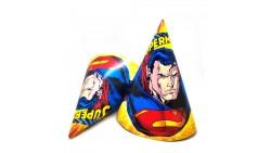 6 CAPPELLINI cono SUPERMAN in carta - con elastico