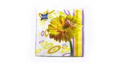 20 Tovaglioli Happy Flower con GIRASOLE Giallo in carta - 33x33cm