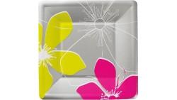 8 Piatti Argento con fiori Fuxia e Verde in carta - piatto quadrato 19x19cm