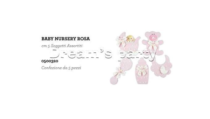 SET 5 PZ BABY NURSERY ROSA CM5