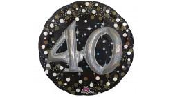Pallone Foil Mylar 40 anni 81cm Effetto 3D