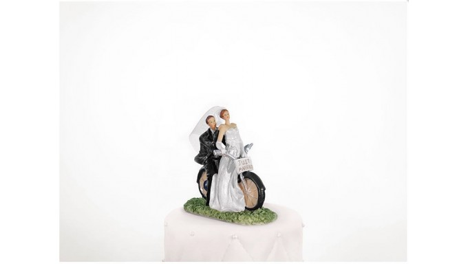 Cake Topper DECORAZIONE SPOSI IN MOTOCICLETTA