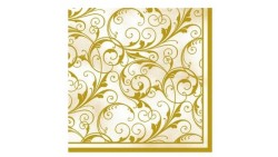 Tovaglioli Fantasia Oro In Carta 3 Veli 33x33cm