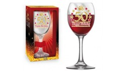 Bicchiere da Vino - Brindisi 50 Anni  - idea regalo gadget compleanno festa party