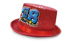 Cappello CILINDRO glitter - Buon Compleanno 18 Anni