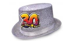 Cappello CILINDRO glitter - Buon Compleanno 30 Anni - idea scherzo gadget