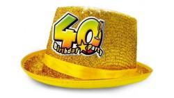 Cappello CILINDRO glitter - Buon Compleanno 40 Anni - idea scherzo gadget