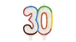 CANDELA Candelina di compleanno multicolor glitter 30 anni