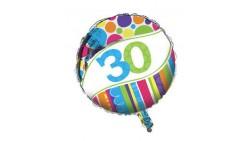 Pallone PALLONCINO in foil MYLAR 30  - gonfiabile ad elio o ad aria - per la festa del TRENTESIMO compleanno