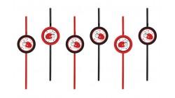 6 Cannucce tema COCCINELLE rosse e nere - per decorazione feste bambini