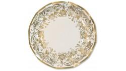 10 Piatti NOBLESSE ORO - Fantasia Oro elegante in carta monouso Ø21cm