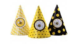 6 CAPPELLINI BEE Ape e fiori - per feste, party, compleanni bambini