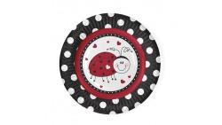 6 PIATTI tema Coccinella Cuoricini - pois nero e Rosso - 18cm
