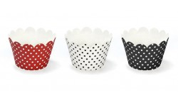 6 Avvolgi CUP CAKE  Muffin decorativi a pois - Rosso Nero e Bianco - tema Coccinella