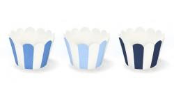 6 Avvolgi CUP CAKE  Muffin decorativi a strisce - Celeste/Turchese/Blu e Bianco
