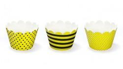 6 Avvolgi CUP CAKE  Muffin decorativi a strisce e pois - Giallo e Nero - tema BEE ape