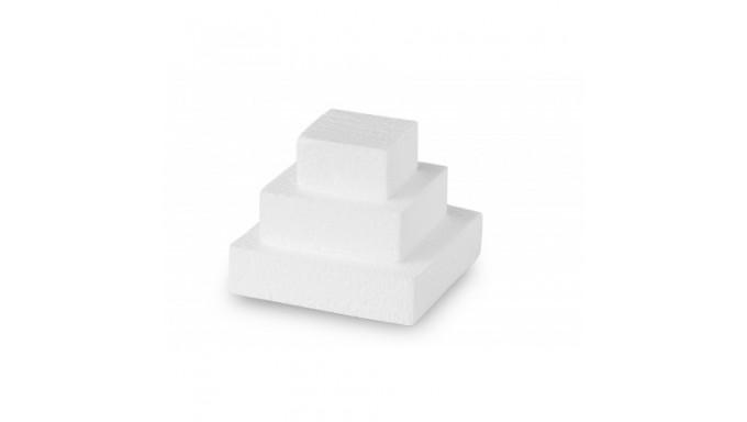 MINI CAKE QUADRATA in POLISTIROLO - base per torte topper finti - 3 pezzi