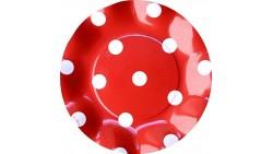 10 Piatti piccoli Ø21cm POIS ROSSO in carta - addobbo decoro tavola