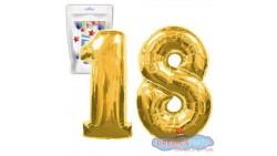 Pallone PALLONCINO numero 18 DICIOTTO ORO numerale in MYLAR foil 100cm