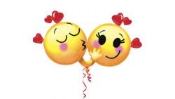 Pallone in foil MYLAR emocicons in love - addobbo decorazione feste, party, compleanno, san valentino, amore, feste bamb