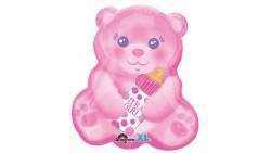 Pallone in foil MYLAR ORSETTO rosa con biberon - addobbo decorazione feste, party, nascita, amore, feste bambini - gonfi