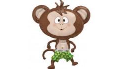 Pallone in foil MYLAR SCIMMIA - addobbo decorazione feste, party,feste bambini - gonfiabile ad elio (Fornito sgonfio)
