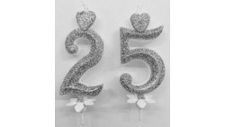 Candela 25° Anniversario argento glitter