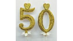 Candela 50° Anniversario oro glitter